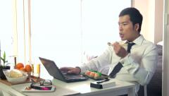 Hungry Busy Manager Businessman Business Man Eating Food Sushi Working Stock Footage