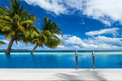 infinity pool with coco palms - stock photo