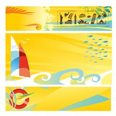 Set of hot travel banners - stock illustration