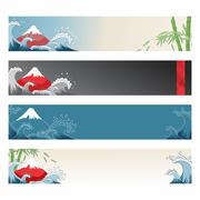 Set of japanese banners for design - stock illustration