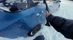 POV of a Man Removing Snow Stock Footage