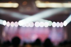 Blurred background : Bokeh lighting in concert with audience. - stock photo
