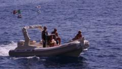 Tourists on speed boat - stock footage