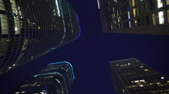 3axis Tracking Shot of Night City Street in LA -Dolly In/Pan L Low Angle- Stock Footage