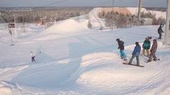 Winter activities in the ski resort - stock footage