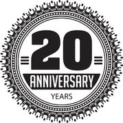 Vintage anniversary 20 years round emblem. Retro styled vector background in  - stock illustration