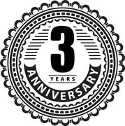 Vintage anniversary 3 years round emblem. Retro styled vector background in b - stock illustration