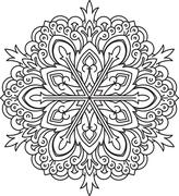 Abstract vector black round lace design - mandala, ethnic decorative element. - stock illustration