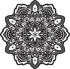 Abstract black vector round lace design - mandala, decorative element. - stock illustration