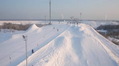 Winter tourism. Ski resort Stock Footage