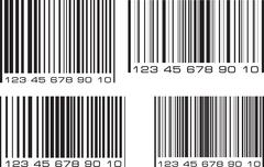 Set of 4 bar code labels. Vector illustration. Stock Illustration
