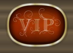 Gold unusual oval frame with shadow and caption VIP on dark background for yo - stock illustration