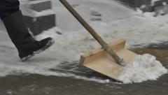 Snow clearance 8. Shovel of  a Janitor Stock Footage