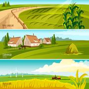 Countryside 3  Horizontal Flat Banners Set - stock illustration