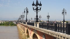 Cars move on the Pont de pierre in Bordeaux - stock footage