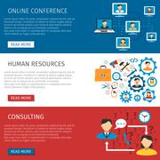 Human Resources Management Flat Banners Set Piirros