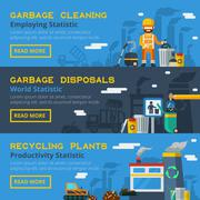 Garbage Recycling Horizontal Banners Set Stock Illustration