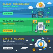 Three Cloud Service Banners Stock Illustration