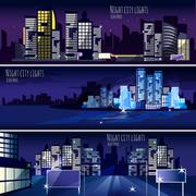 City Nightcape 3 Banners Set - stock illustration
