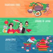 Japanese Life Style  Horizontal Banners Set Stock Illustration