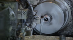 Industrial lathe works metal with precision - stock footage