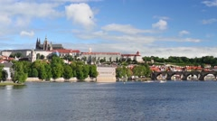 Prague and Vltava river at spring morning - stock footage