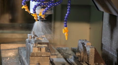 Automatic drilling machine in action Factory Stock Footage