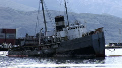 Derelict tug boat in Ushuaia - stock footage