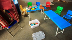 Small Tables Chairs in Kindergarten Toy Boxes Motion - stock footage