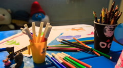 Pens Brushes Paints Paper Disappear off Table in Kindergarten - stock footage