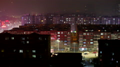 Cityscape on a hazy night Stock Footage