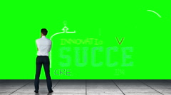 Businessman looking at green interface Stock Footage
