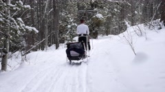 Family cross country skiing in the new snow Stock Footage