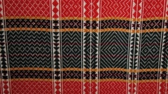 Pattern of a traditional Norwegian handmade cloth in Straumen, Norway. Stock Footage