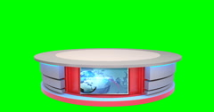 Isolated Virtual News Studio Desk Stock Footage