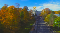 autumn Park the alley in Pushkin, Russia - stock footage
