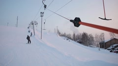 Lifts and ropeway of the ski resort - stock footage