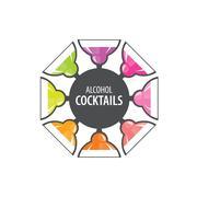 Alcoholic cocktails logo Stock Illustration