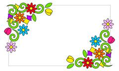 Frame with colorful flowers - stock illustration