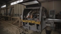 Overview woodworking machine in furniture factory Stock Footage
