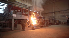 Molten metal in a smelting furnace Stock Footage
