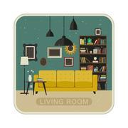 Living room grunge interior. Stock Illustration