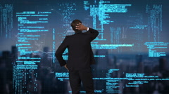 Businessman coding on tech interface - stock footage