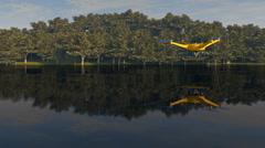 UAV drone surveying wetlands, 3D animation Stock Footage