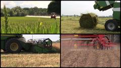 Field spray. Grass bales. Harvest. Fertilize. Video collage Stock Footage