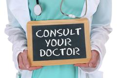 Ask consult your doctor ill illness healthy health check-up screening - stock photo