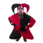 Evil jester sticking out the tounge, isolated on white Stock Photos