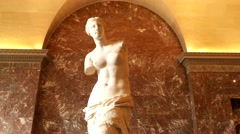 Venus de Milo Statue Frontal View Stock Footage