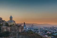Evening view of Tbilisi from Narikala Fortress Kuvituskuvat