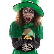 Leprechaun with a gold treasure in her Hands, isolated on white, concept lege - stock photo